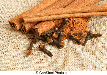 Cinnamon and cloves on a cloth background
