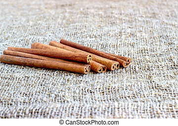 Cinnamon and cloves on a cloth