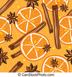 Cinnamon and oranges, vector, kitchen background. Abstract...