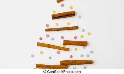 cinnamon and sprinkles in shape of christmas tree - cooking,...