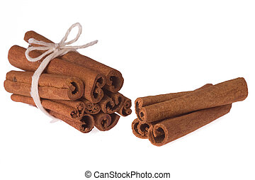 cinnamon, anise and cloves isolated on white background