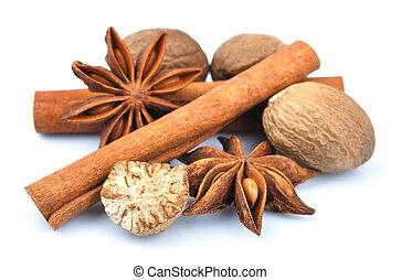 Cinnamon, anise, nutmeg.