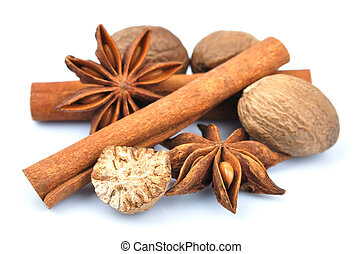 Cinnamon, anise, nutmeg. - Cinnamon, anise, nutmeg, isolated...