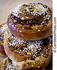 Cinnamon Bun - portrait of delicious pile cinnamon buns on...