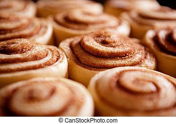 Cinnamon Buns - A detail of raw cinnamon buns - very shallow...