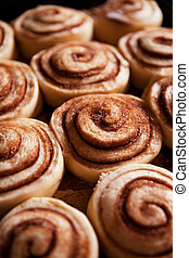 Cinnamon Buns - A detail of raw cinnamon buns - very shallow...