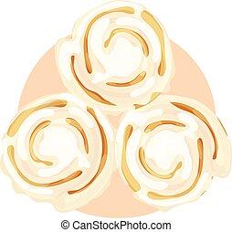 Three iced cinnamon buns on an orange circle background. Isolated vector illustration.