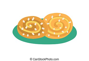 Cinnamon buns with sprinkled sugar. Baked danish cinamon roll. Traditional Swedish bakery. Colored flat vector illustration isolated on white background.