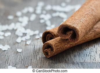 Cinnamon (cassia) sticks and sea salt
