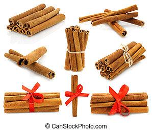 Cinnamon collage on white background
