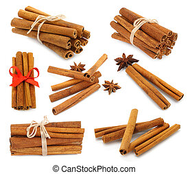 Cinnamon collage on white background