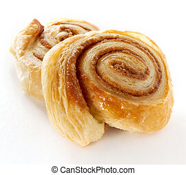 Cinnamon danish bun on white background