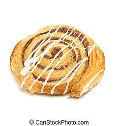 Cinnamon Danish Pastry swirl isolated against white...