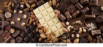 Cinnamon, Dark chocolate with milk and candy sweet -...