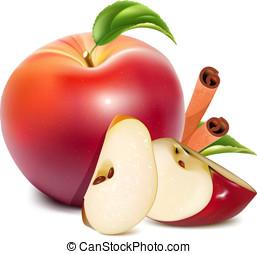 cinnamon., feuilles, pommes vertes, rouges