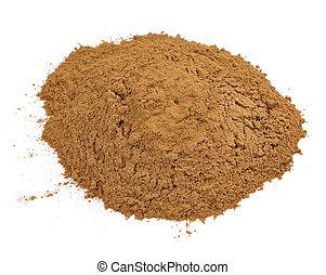 (cinnamon), isolado, fundo, cassia, branca, chão