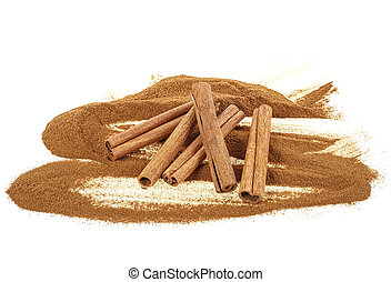 Cinnamon isolated on white background, powder and sticks.