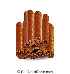 Cinnamon isolated on white vector