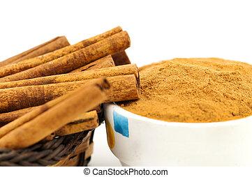 cinnamon macro isolated - cinnamon a white background