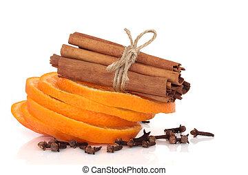 Cinnamon, Orange and Cloves - Spice selection of cinnamon...