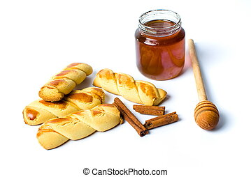 Cinnamon pastry with honey isolated