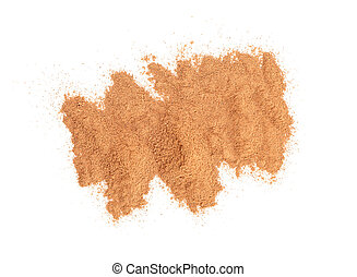 Cinnamon powder isolated on white background, top view