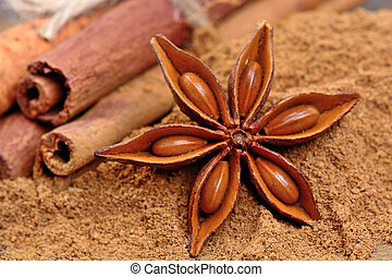 Cinnamon powder with anise star and cinnamon sticks