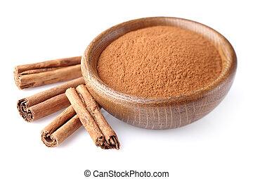 Cinnamon powder with sticks
