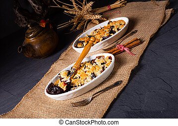 Cinnamon prunes with crumble