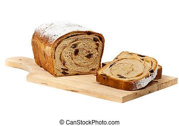 Cinnamon Raisin Bread on a white background. Selective...