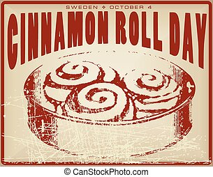 Cinnamon Roll Day vintage card for the holiday is celebrated...