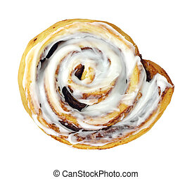 Cinnamon Roll - A large cinnamon roll on a white background.