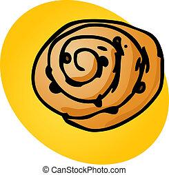 Cinnamon roll, illustration of sweet baked dessert pastries