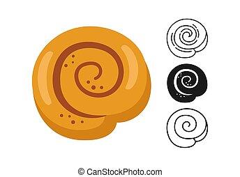 Cinnamon roll icon, bread line and black glyph, cartoon sign set. Hand drawn sketch fresh sweet round bun bakery. Shop flat food design. Packaging label, vector food app, website