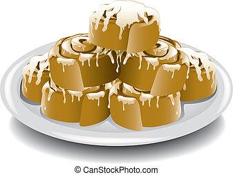 Illustration of a plate of warm breakfast cinnamon rolls.