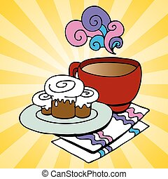 Cinnamon Rolls and Coffee - An image of a plate of cinnamon...