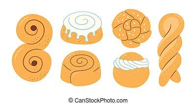Traditional swedish sweets. Kanelbulle bun, cinnamon roll, Pepparkakor, Semla, lussekatt, dammsugare, prinsesstarta, waffle and chokladboll. Hand drawn isolated vector illustration on white background