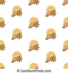 Cinnamon, star anise, orange pattern. Seamless pattern.