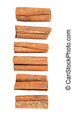 Cinnamon sticks over white background