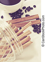 cinnamon stick - close up cinnamon stick in dozen with with...