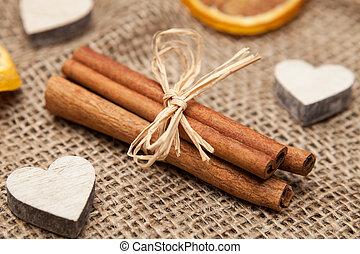 cinnamon stick and christmas decoration