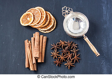 cinnamon stick, star anise and dried orange