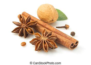 cinnamon sticks and anise star on white