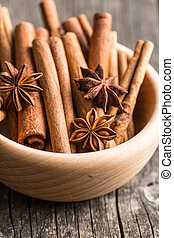 Cinnamon sticks and anise stars.