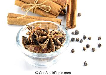 Cinnamon sticks and anise stars