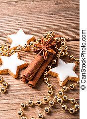 cinnamon sticks and Christmas cake