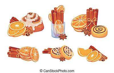 Cinnamon Sticks and Orange Fruit Compositions Vector Set