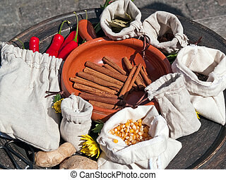 Cinnamon sticks and spices in a market