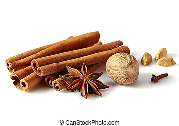Cinnamon sticks and spices