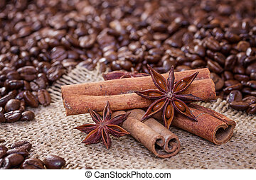 Cinnamon sticks and star anise on a background of coffee beans